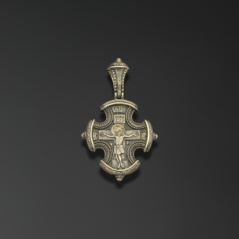 Engolpion cross with image of Nicholas the Miracle Worker