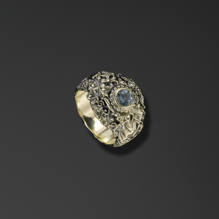 Protective signet ring bearing the words 'Save and Protect' with grape vines.